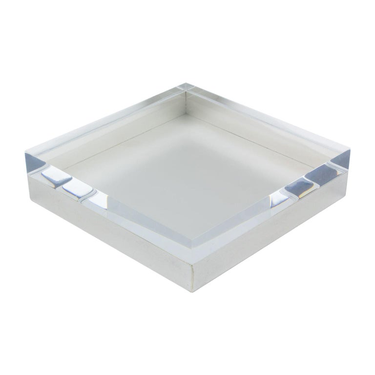 Italian Lucite and Silver Plate Box For Sale