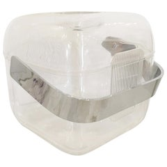 Italian Lucite Shell & Lid with Chrome Plate Handle and Lucite Lining Ice Bucket
