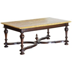 Italian LXIII Period Walnut Salon Table with Magnificent Marble Top