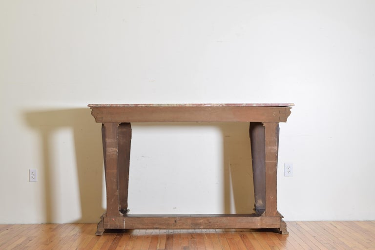 Italian, LXIV Style, Baroque Revival Giltwood Console, Marble Top For Sale 10
