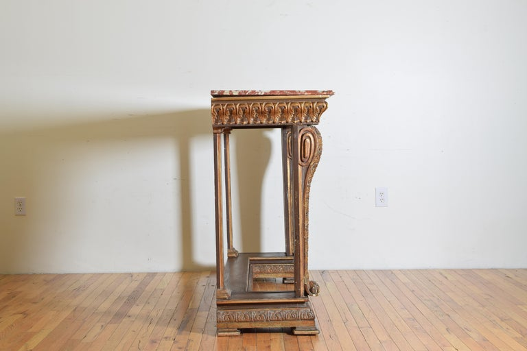 Late 19th Century Italian, LXIV Style, Baroque Revival Giltwood Console, Marble Top For Sale