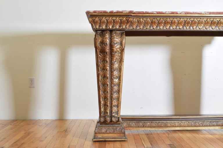 Italian, LXIV Style, Baroque Revival Giltwood Console, Marble Top For Sale 1