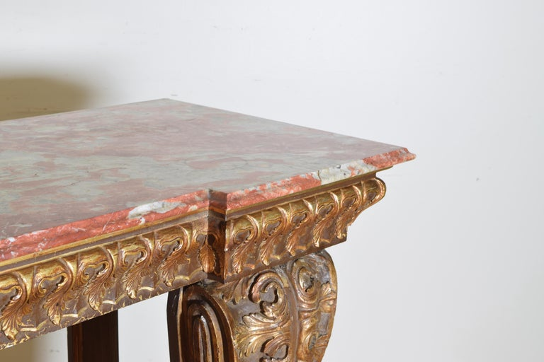 Italian, LXIV Style, Baroque Revival Giltwood Console, Marble Top For Sale 2