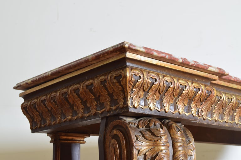 Italian, LXIV Style, Baroque Revival Giltwood Console, Marble Top For Sale 3