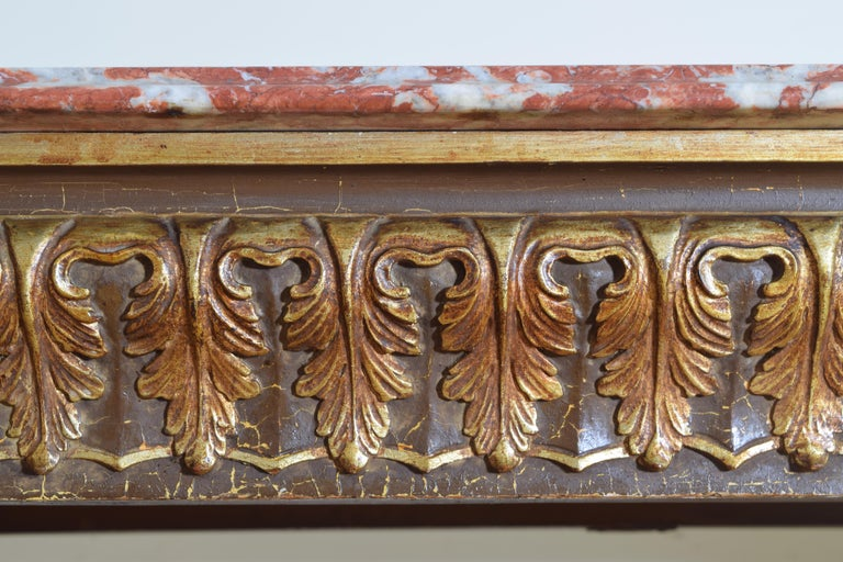Italian, LXIV Style, Baroque Revival Giltwood Console, Marble Top For Sale 4