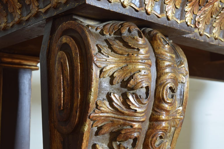 Italian, LXIV Style, Baroque Revival Giltwood Console, Marble Top For Sale 5