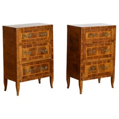 Italian LXVI Walnut Inlaid and Veneered 3 Drawer Bedside Commodes, Late 18th C.