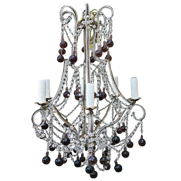 Italian Macaroni Crystal Beaded Chandelier with Amethyst Drops For Sale