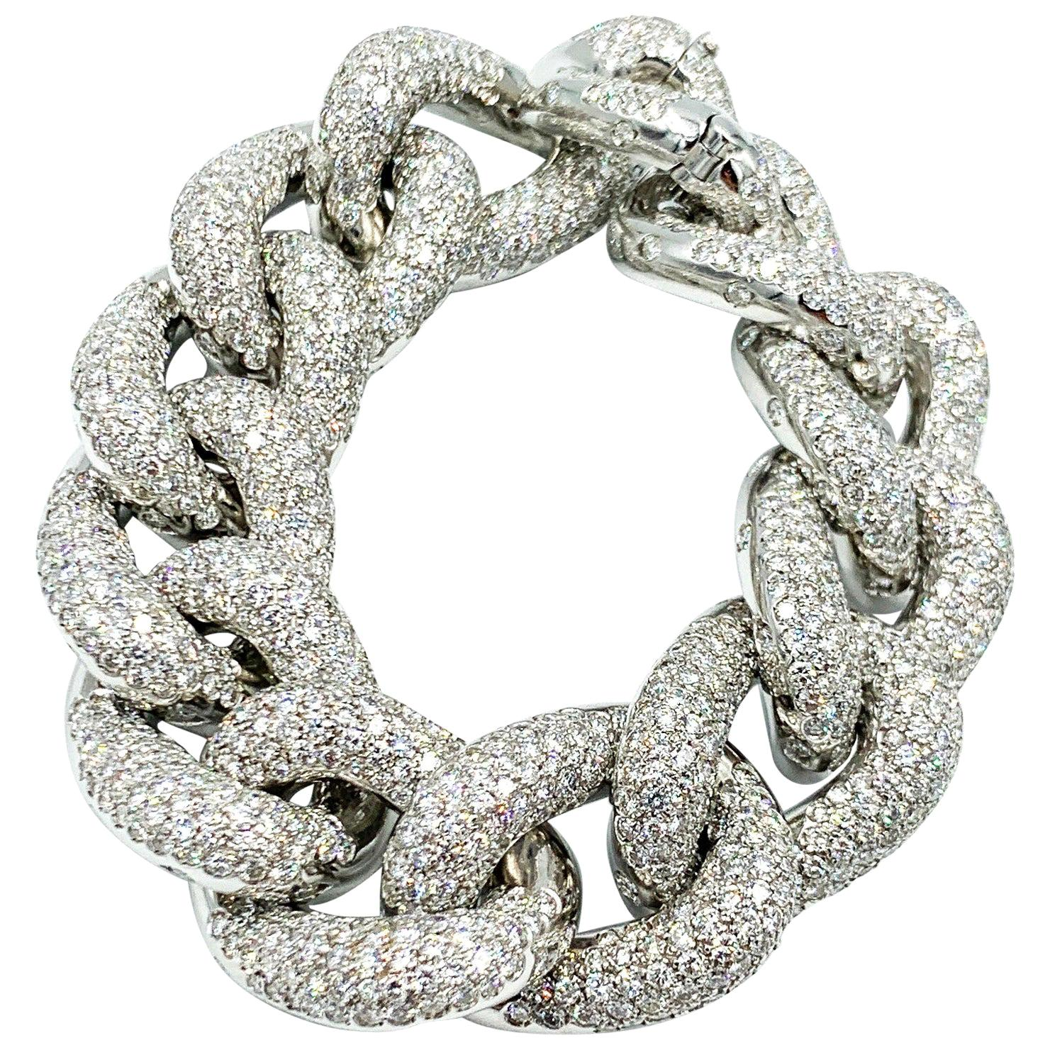 Italian Made 18 Karat White Gold Diamond Bracelet