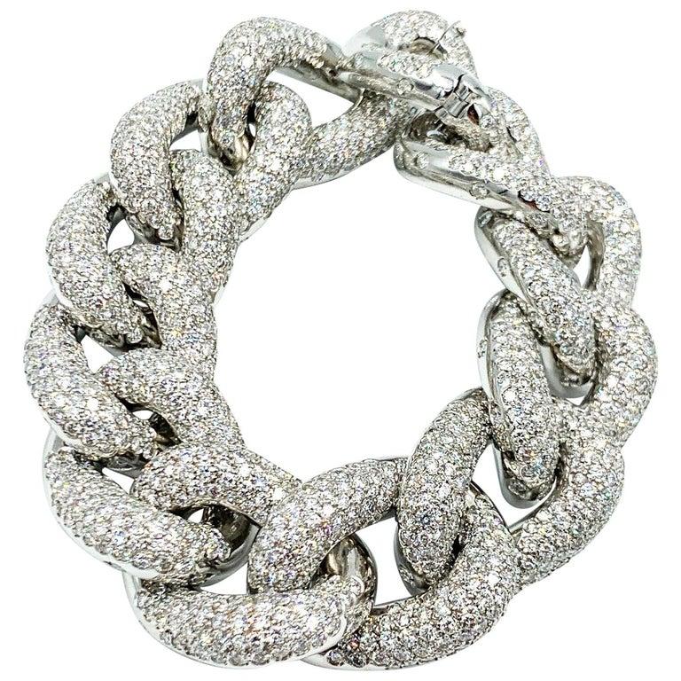 Italian Made 18 Karat White Gold Diamond Bracelet For Sale
