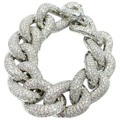 Italian Made 18 Karat White Gold Diamond Bracelet