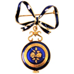 Italian Made Gold Watch Brooch with Blue Enamel Accents