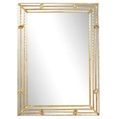Italian Made La Barge Multi Faceted Gilded Neoclassical Wall Mirror