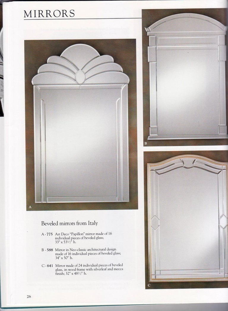 Italian Made Silver Leaf Beveled Mirror by Decorative Crafts For Sale 14