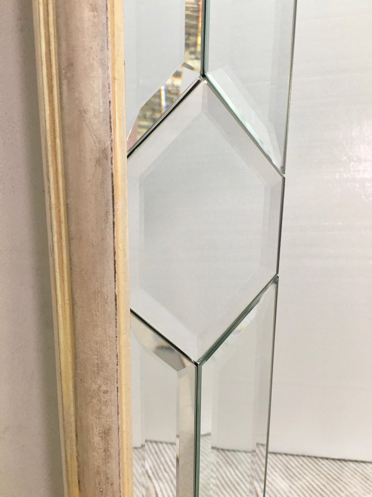 Italian Made Silver Leaf Beveled Mirror by Decorative Crafts For Sale 1
