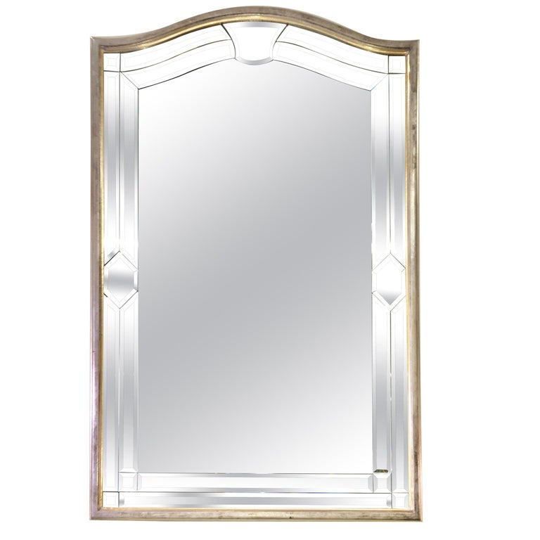 Italian Made Silver Leaf Beveled Mirror by Decorative Crafts For Sale