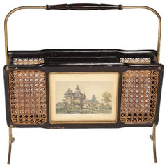 Italian Magazine Rack with Engravings and Wicker on Both Sides
