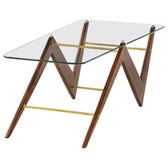 Italian Mahogany and Glass Coffee Table Attributed to Ico & Luisa Parisi