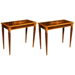 Italian Mahogany and Walnut Wood Narrow Louis XVI Style Console Tables