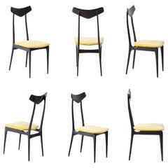 Italian Mahogany and Yellow Velvet Dining Chairs , 1950s