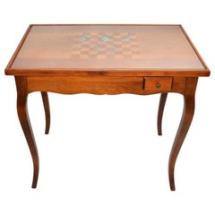 Italian Mahogany Inlayed Wood Flip Top Game Table Etched Glass Cover Mid-Century
