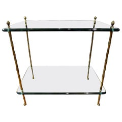 Italian Maison Baguès Style Bronze and Glass Two-Tiered Table