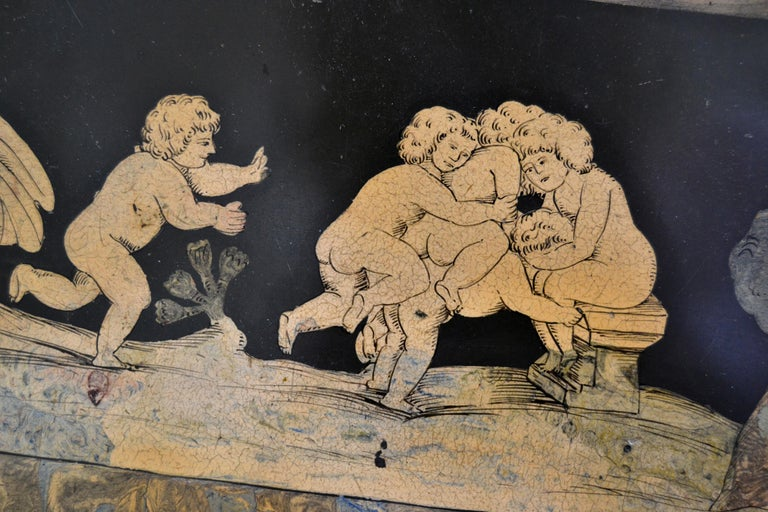 Italian Maison Jansen Hand Painted Slate Marble & Bronze Low Coffee Table, 1920s For Sale 4