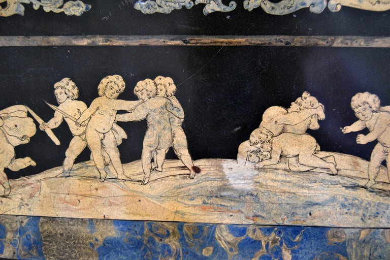 Italian Maison Jansen Hand Painted Slate Marble & Bronze Low Coffee Table, 1920s For Sale 5