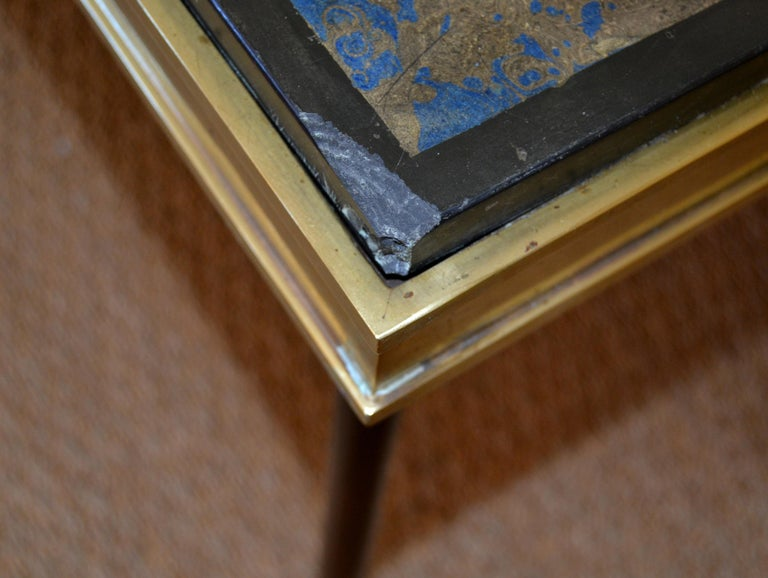 Italian Maison Jansen Hand Painted Slate Marble & Bronze Low Coffee Table, 1920s For Sale 10