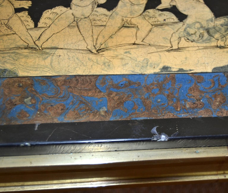 Italian Maison Jansen Hand Painted Slate Marble & Bronze Low Coffee Table, 1920s For Sale 11