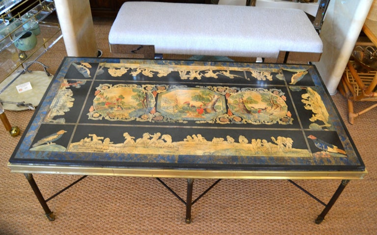 Italian Maison Jansen Hand Painted Slate Marble & Bronze Low Coffee Table, 1920s For Sale 12