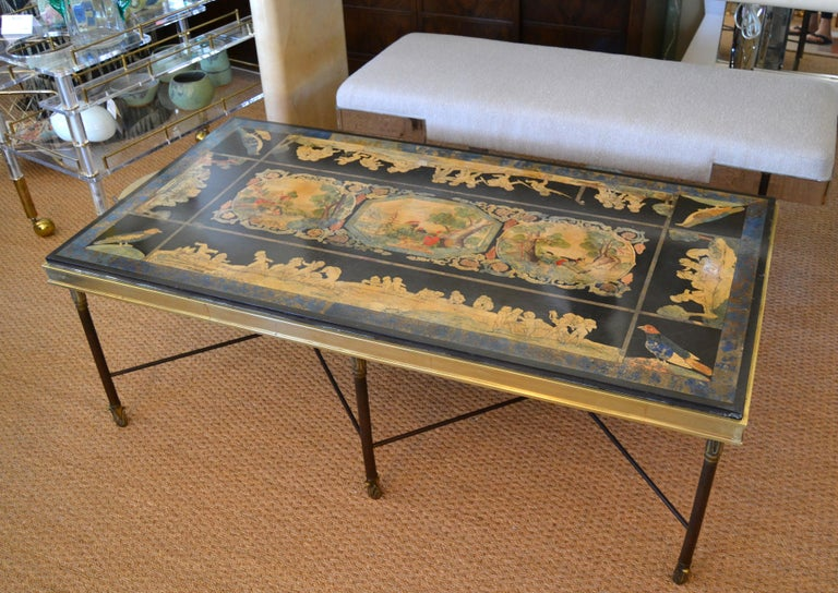 Art Deco Italian Maison Jansen Hand Painted Slate Marble & Bronze Low Coffee Table, 1920s For Sale