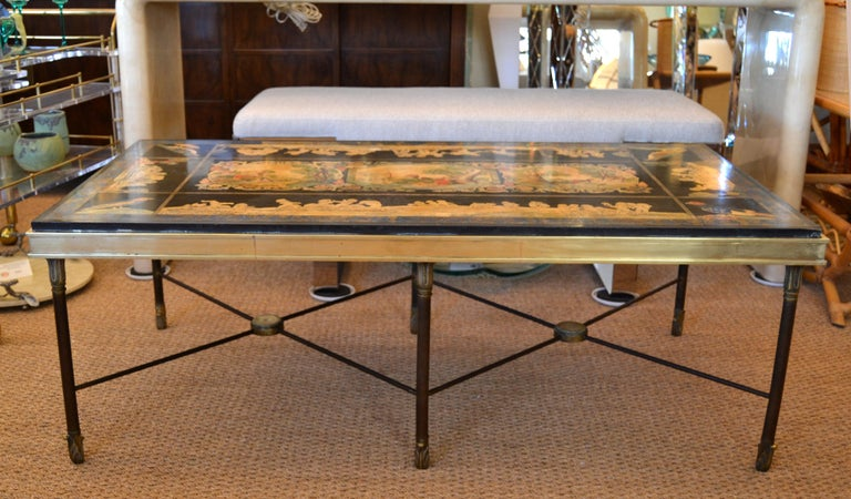 Hand-Painted Italian Maison Jansen Hand Painted Slate Marble & Bronze Low Coffee Table, 1920s For Sale