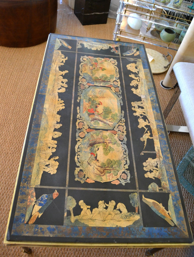 Italian Maison Jansen Hand Painted Slate Marble & Bronze Low Coffee Table, 1920s In Good Condition For Sale In Miami, FL
