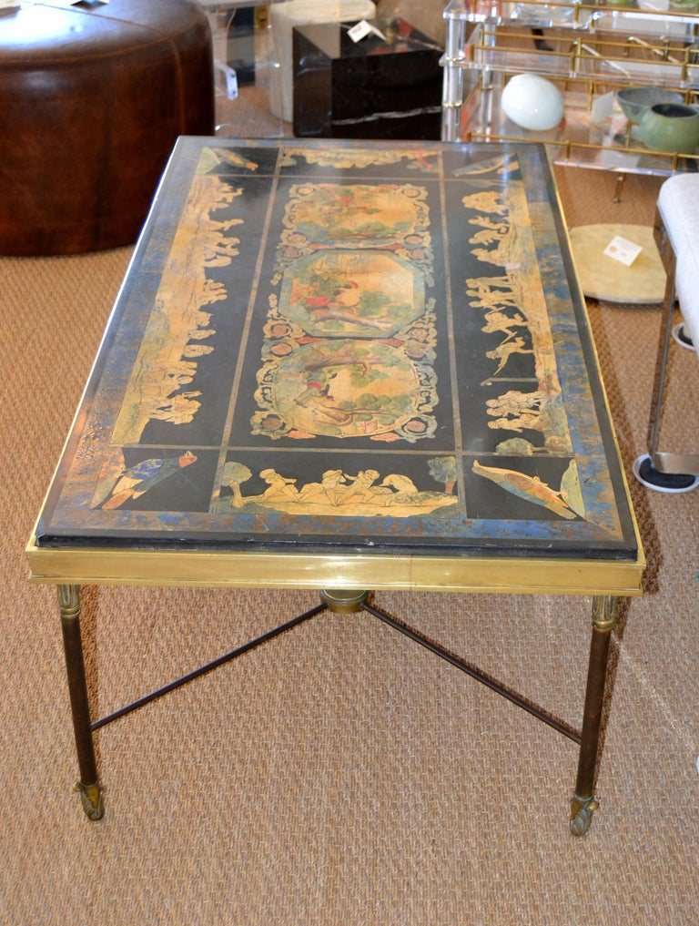 Early 20th Century Italian Maison Jansen Hand Painted Slate Marble & Bronze Low Coffee Table, 1920s For Sale
