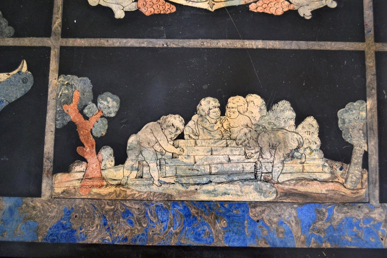 Italian Maison Jansen Hand Painted Slate Marble & Bronze Low Coffee Table, 1920s For Sale 2