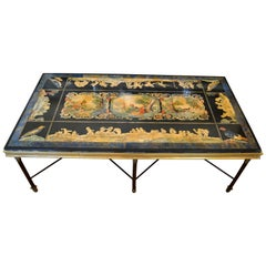 Italian Maison Jansen Hand Painted Slate Marble & Bronze Low Coffee Table, 1920s