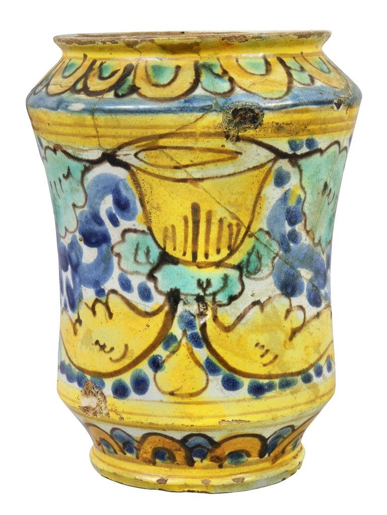 17th Century Italian Majolica Albarello For Sale
