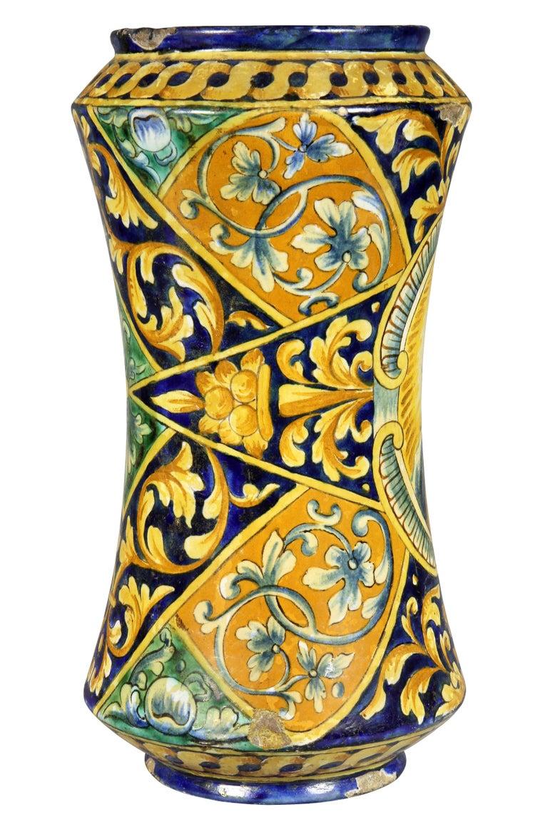18th Century Italian Majolica Albarello or Apothecary Jar
