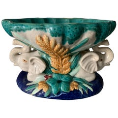 Italian Majolica Bowl with Elephants