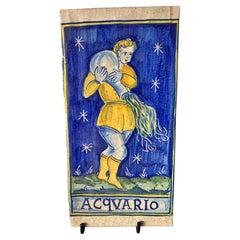 """Italian Majolica """"Castelli"""" 20th Century """" Aquarius """""""