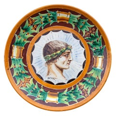 Italian Majolica Charger Portrait of a Young Roman Man
