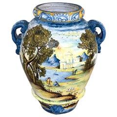 Italian Majolica Landscape Olive Oil Jar/ Jardinière, Provenance Celine Dion