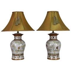 Italian Majolica Table Lamp Pair