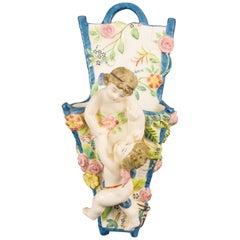 Italian Majolica Wall Pocket or Vase with Cherubs