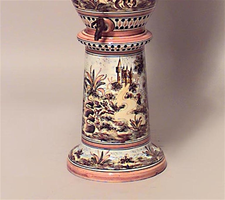 Hand-Painted Italian Majolica Water Cooler on Pedestal, Sinai For Sale