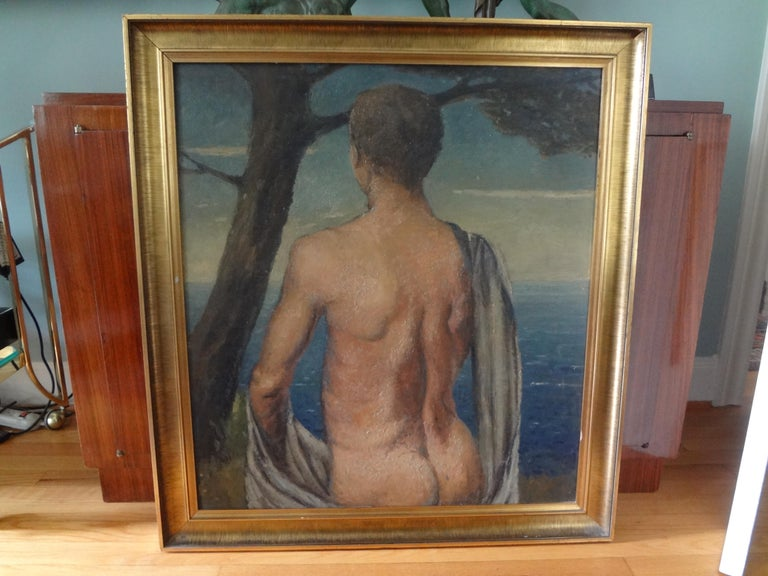 Stunning and unusual framed Italian male nude oil painting on a wood panel. This Italian Art Deco oil painting dates from the 1930s. This Italian nude oil painting is well executed and in very good condition.