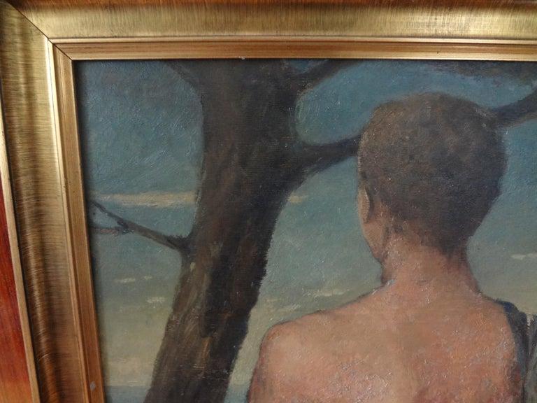 Art Deco Italian Male Nude Oil Painting on Wood Panel, circa 1930 For Sale