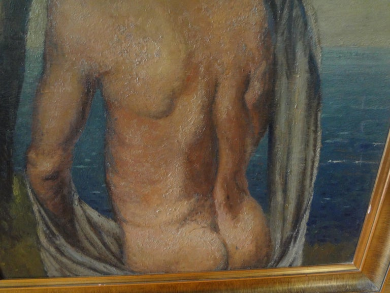 Italian Male Nude Oil Painting on Wood Panel, circa 1930 In Good Condition For Sale In Houston, TX