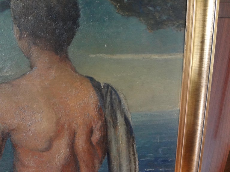 Mid-20th Century Italian Male Nude Oil Painting on Wood Panel, circa 1930 For Sale
